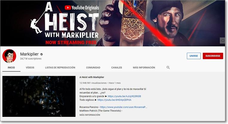 Canal en Youtube de  Markiplier