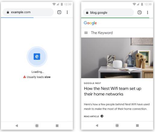 Barra azul o verde de carga de páginas en google