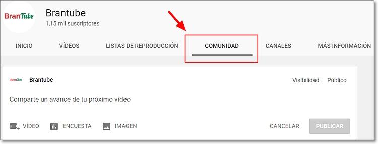 comunidad youtube