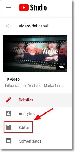 Editor de vídeos en Youtube