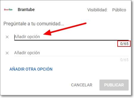 Añadir opción en la encuesta de la comunidad de youtube
