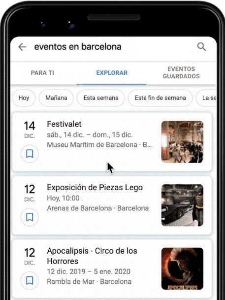 Búsquedas de eventos en Google