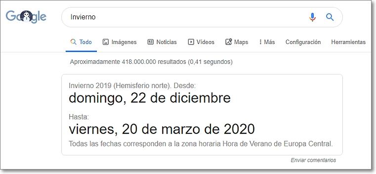 """buscar """"Invierno"""" en Google"""