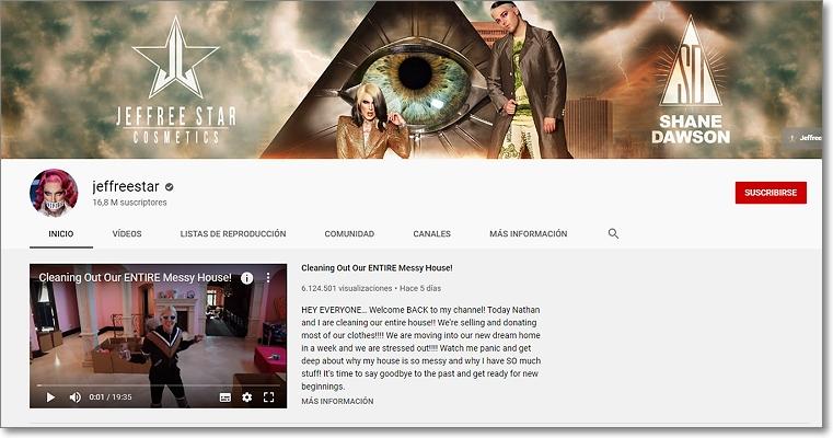 Canal en Youtube de  Jeffree Star