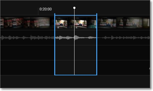 Lineas azules de segmento de vídeo editado