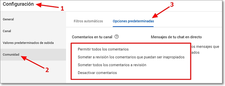 Someter a revisión comentarios inapropiados en Youtube