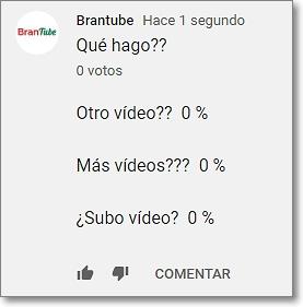 Porcentajes preguntas en la encuesta de comunidad de youtube