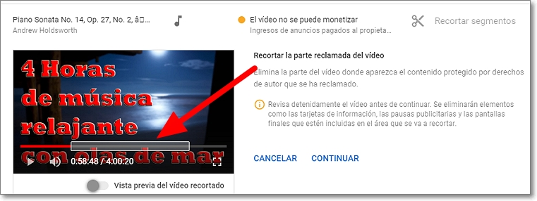 Segmento a recortar del vídeo en youtube