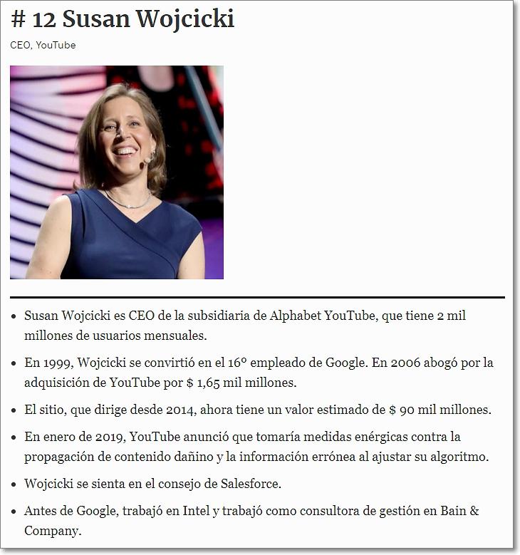 Susan Wojcicki #12 de la lista Forbes de las mujeres más poderosas del mundo