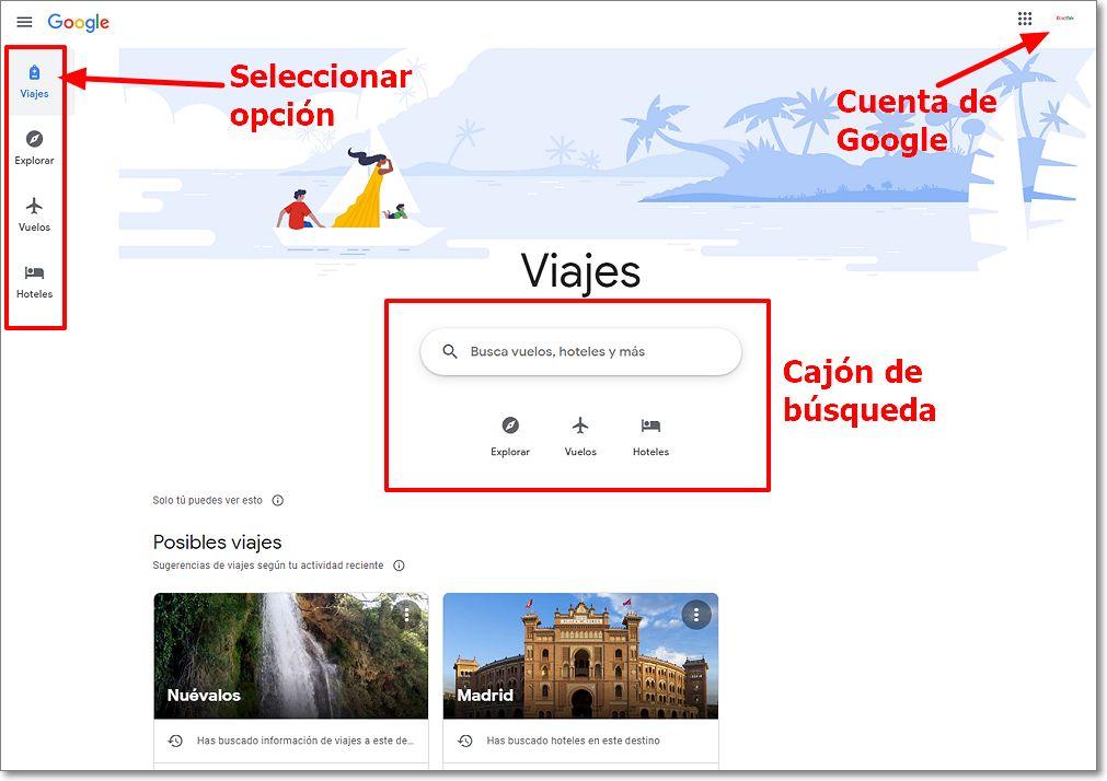 Interfaz de Google Viajes