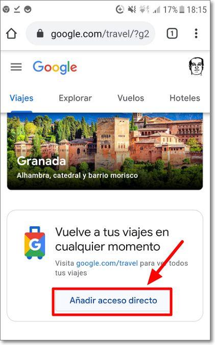 Crear acceso directo Google Viajes
