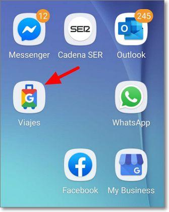 Botón de inicio de la App Google Viajes