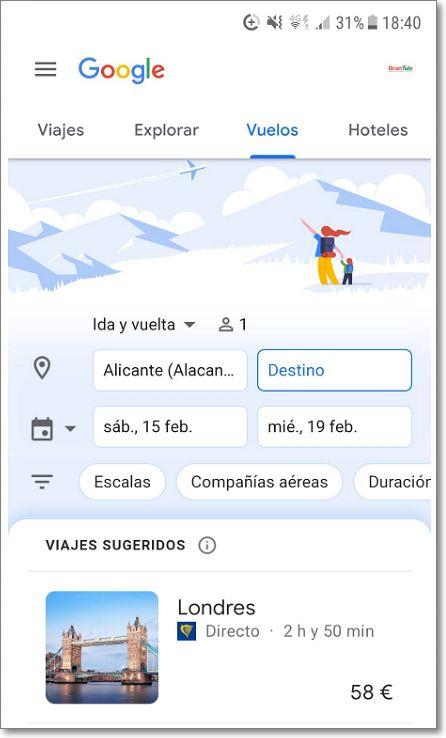 Vuelos en Google viajes