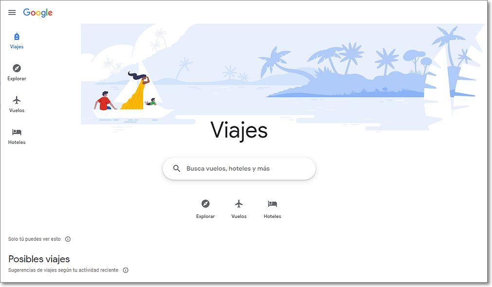 Buscador de viajes en Google