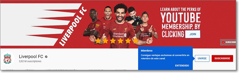 Canal en Youtube del Liverpool FC