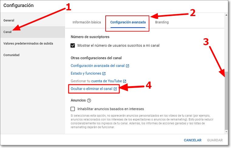 Configuración canal youtube