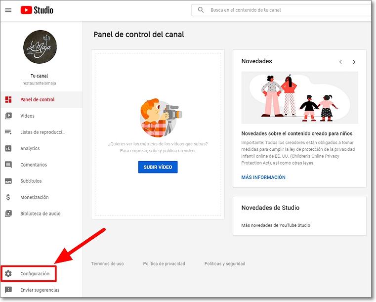 Panel control Youtube Studio para borar canal en Youtube