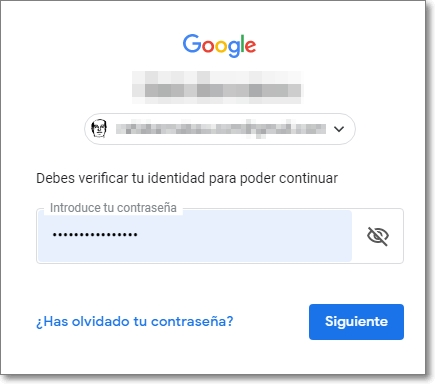 Selecciona la cuenta de Google para borrar el canal de Youtube