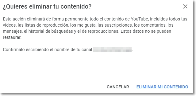 Eliminar definitivamente el contenido de Youtube