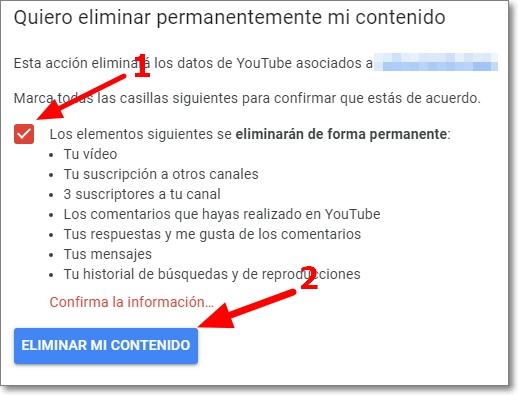Eliminar contenido de Youtube