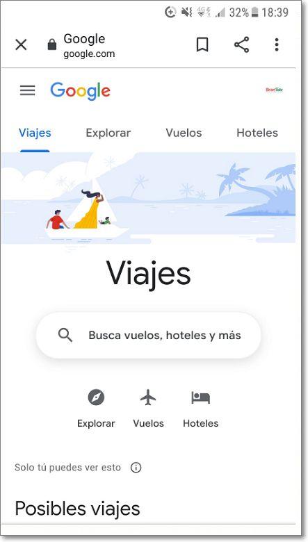 Google Viajes en Smartphone