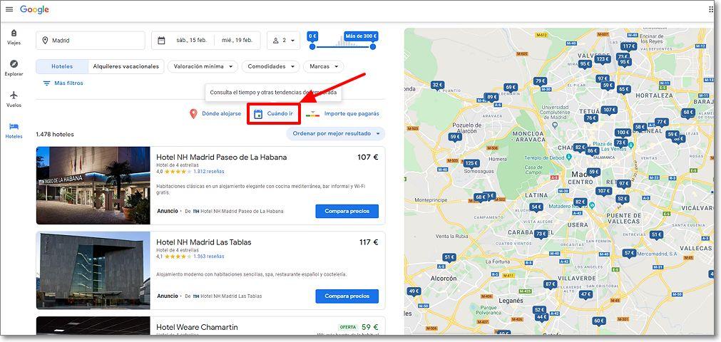 """Hotel en google Viajes botón """"Cuando ir"""""""
