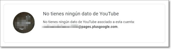 Mensaje de Youtube sin datos en tu cuenta