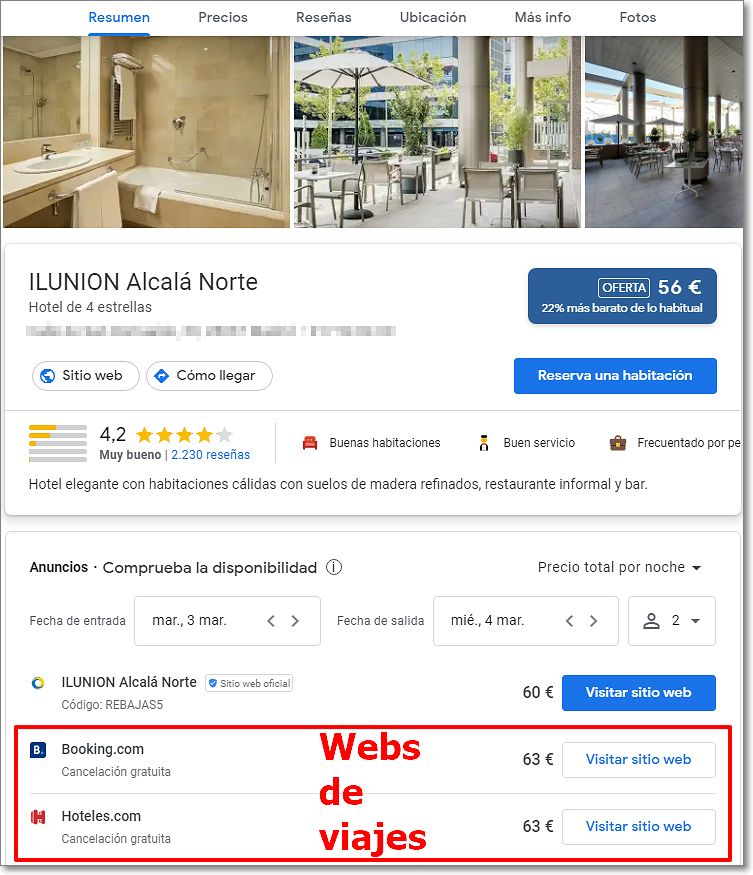Resultado de búsqueda de hotel