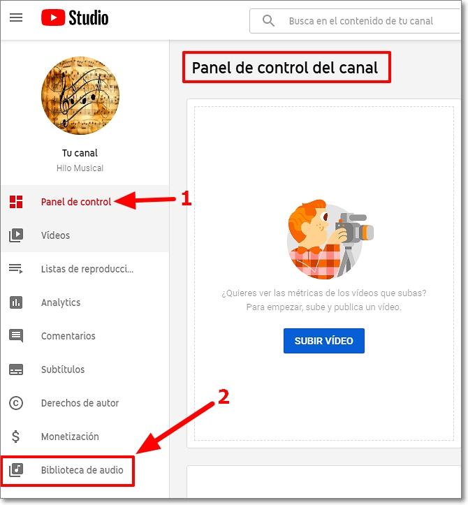 Panel de control de tu cuenta en Youtube Studio