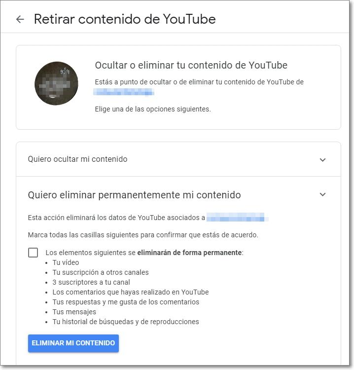 Retirar contenido de Youtube