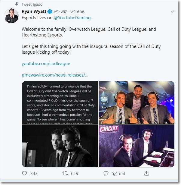 Twitter Ryan Wyatt sobre youtube gaming