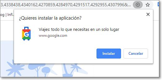 Permiso para instalar la aplicación Google Viajes