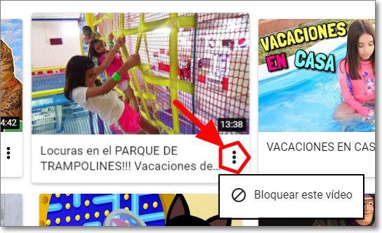 Pinchas sobre los tres puntos para bloquear el vídeo