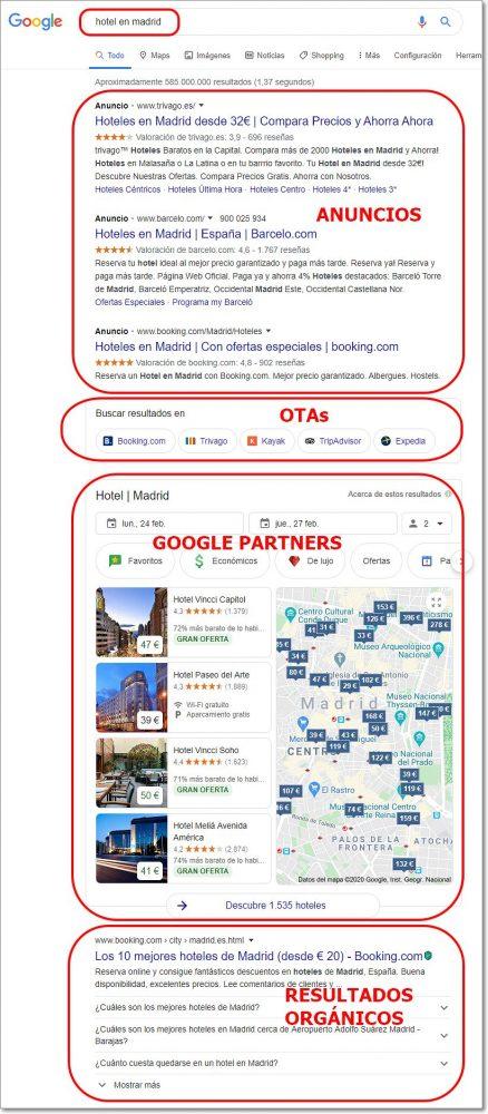 Resultados de búsqueda en Google de hotel en madrid