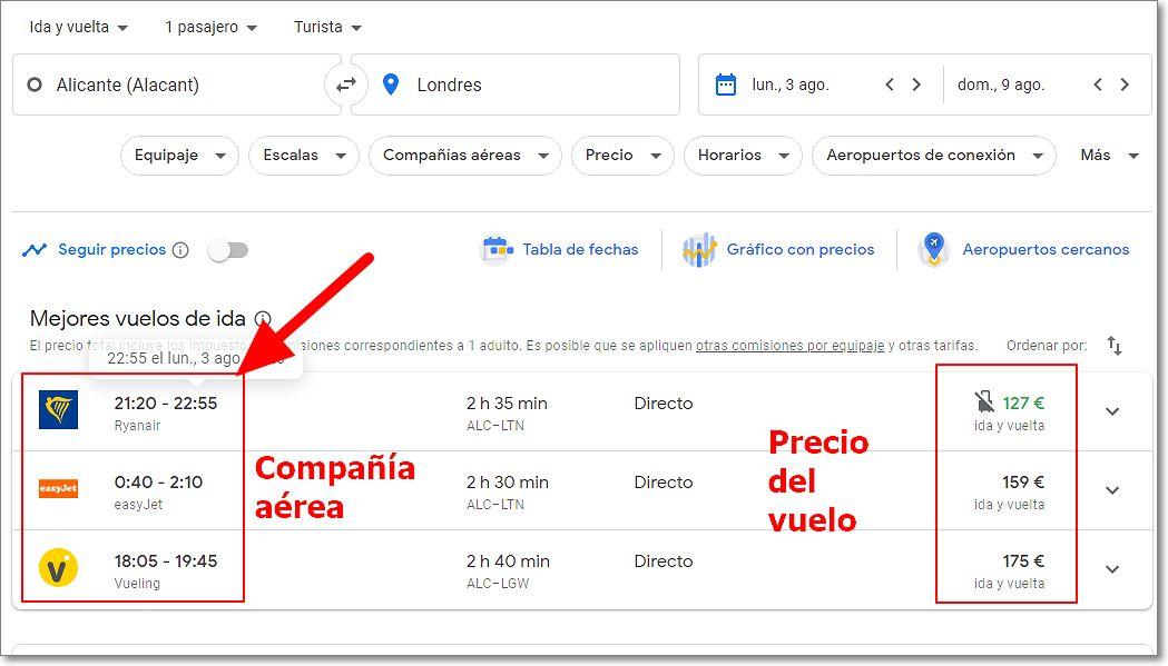 Interfaz de Google vuelos
