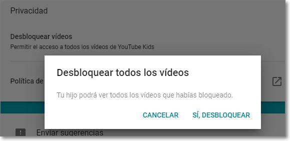 Desbloquear los vídeos anteriormente bloqueados en Youtube Kids