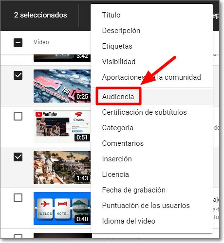 """Audiencia"" en Youtube edición Studio"