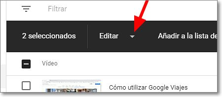 "Apartado ""Editar"" de la barra superior de youtube studio"