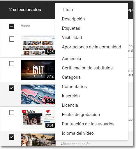 Opciones de edición Youtube Studio