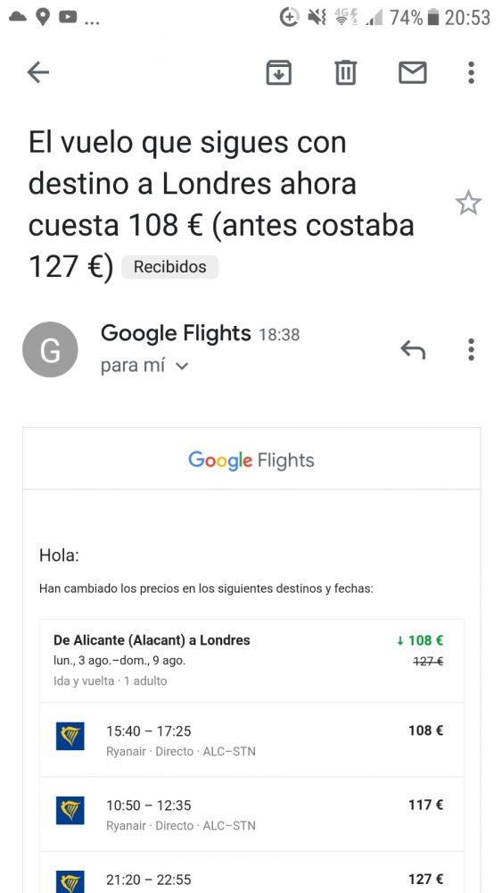 Email de Google con variación de precio