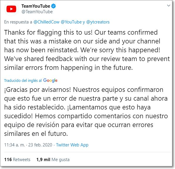 Youtube asume el error al parar la emisión del streaming.