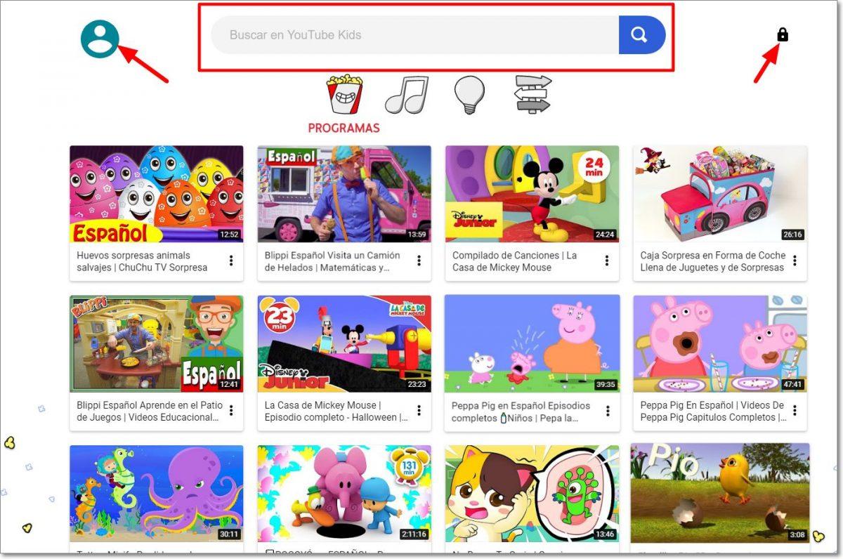 Página de inicio de Youtube Kids