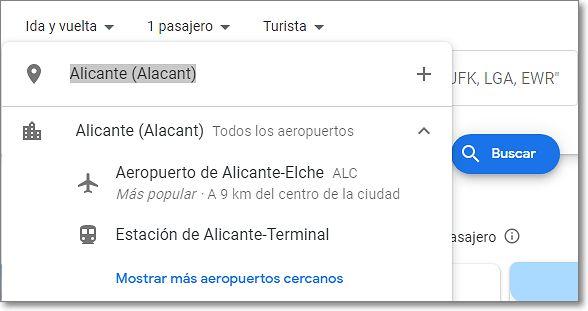 Aeropuerto de inicio del vuelo