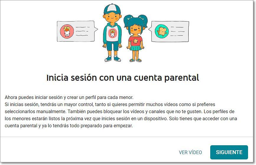 Iniciar sesión cuenta parental youtube kids