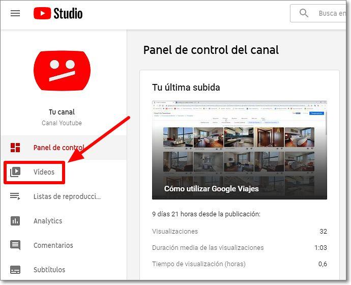 """Sección """"Vídeos"""" del menú de youtube studio"""