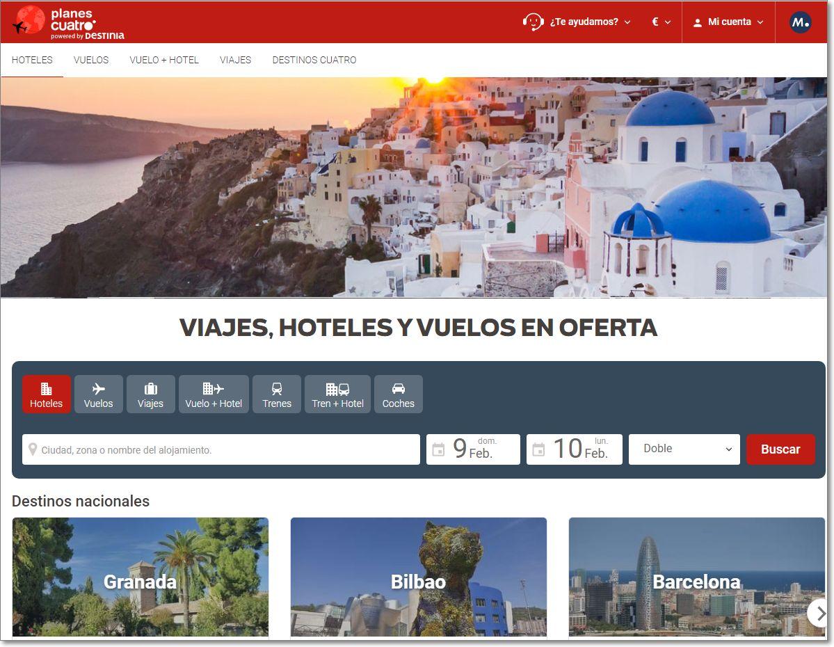 Planescuatro web de viajes online