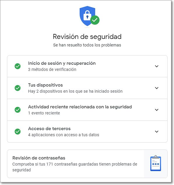 Revisión de seguridad de google