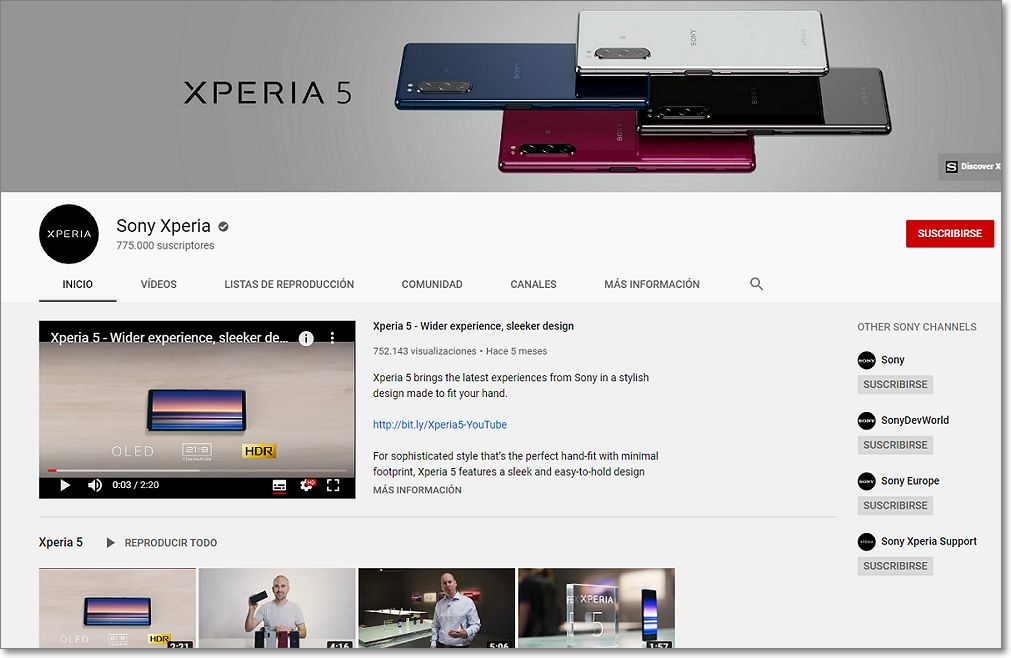 canal youtube sony xperia