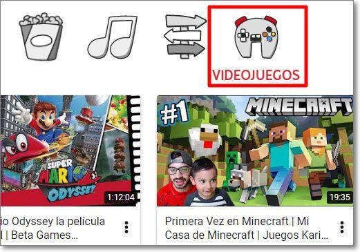Videojuegos en Youtube Kids