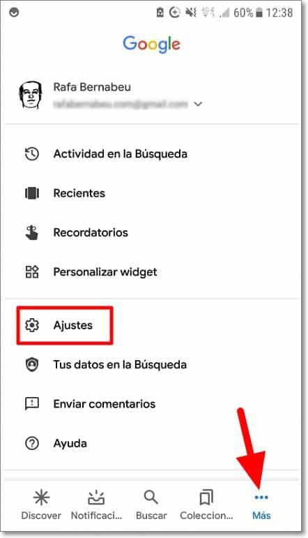 Ajustes Google Discover